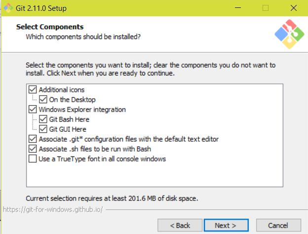 Figure 3 : Git pour Windows - Options.