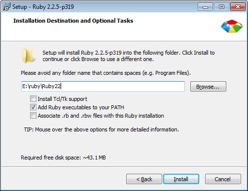 Figure 1 : Installer Ruby.